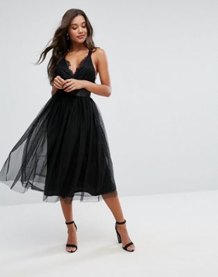 ASOS PREMIUM Lace Top Tulle Midi Prom Dress with Ribbon Ties at asos ...
