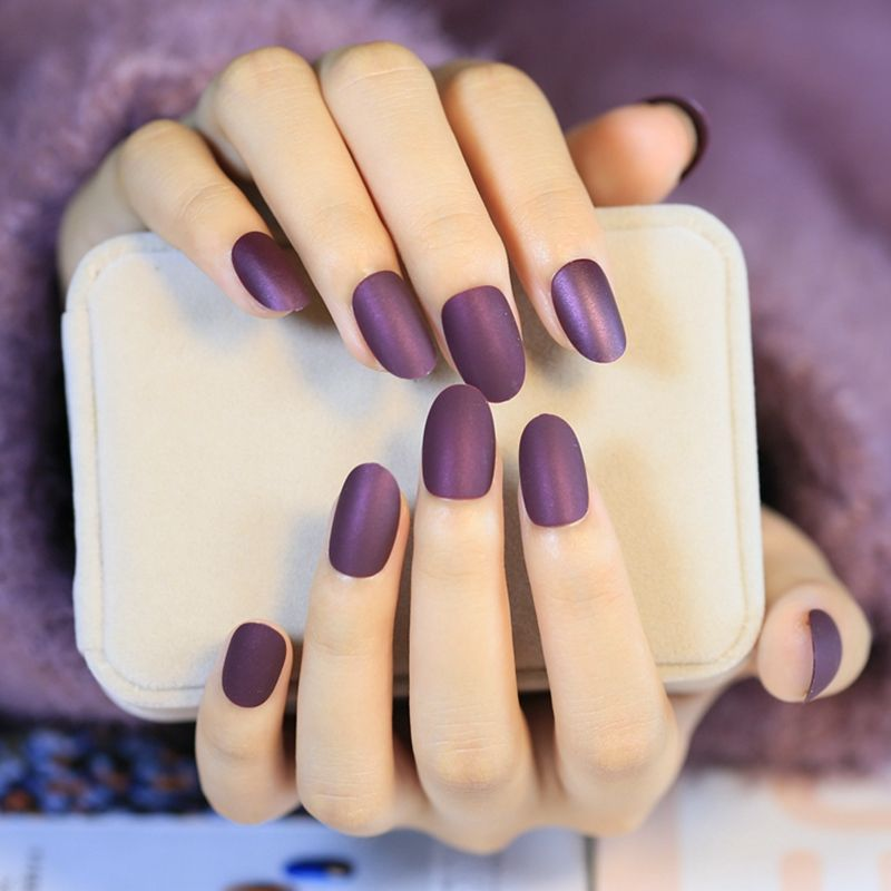 Matte Style Fake Nails Round Wine Grape Purple Lady Acrylic False ...