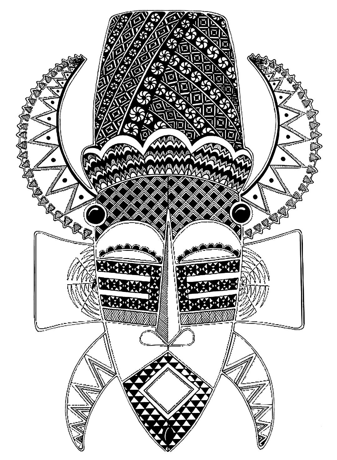 African tribal coloring pages ~ Free coloring page coloring-adult-africa-mask. African ...