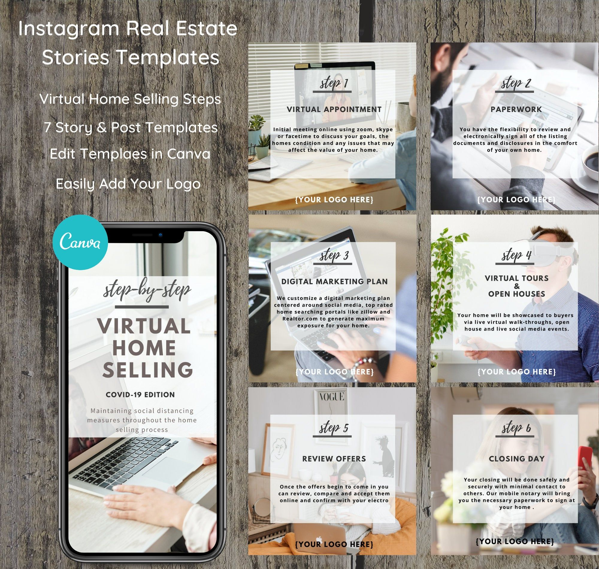 Real Estate Social Media Template - Virtual Home Selling Guide - Instagram Facebook Real Estate Story Marketing - Real Estate Bundle