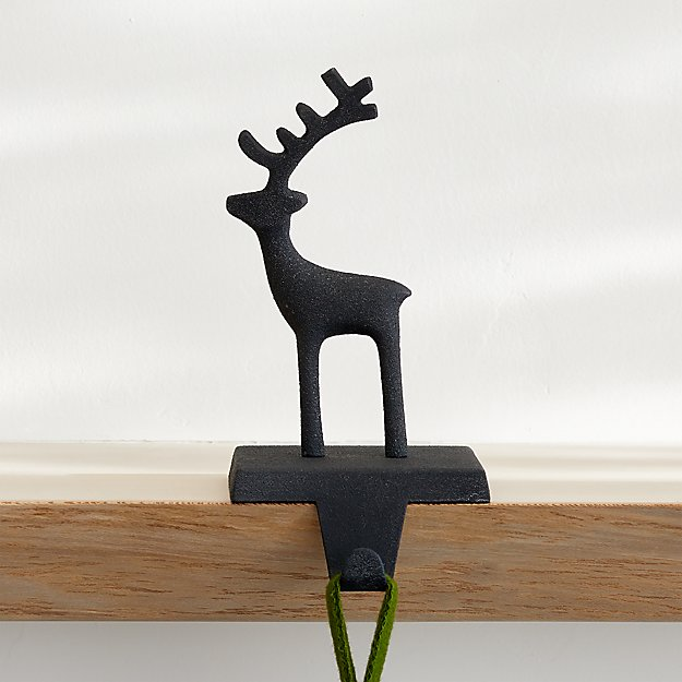 Silver Reindeer Stocking Hook + Reviews Crate and Barrel