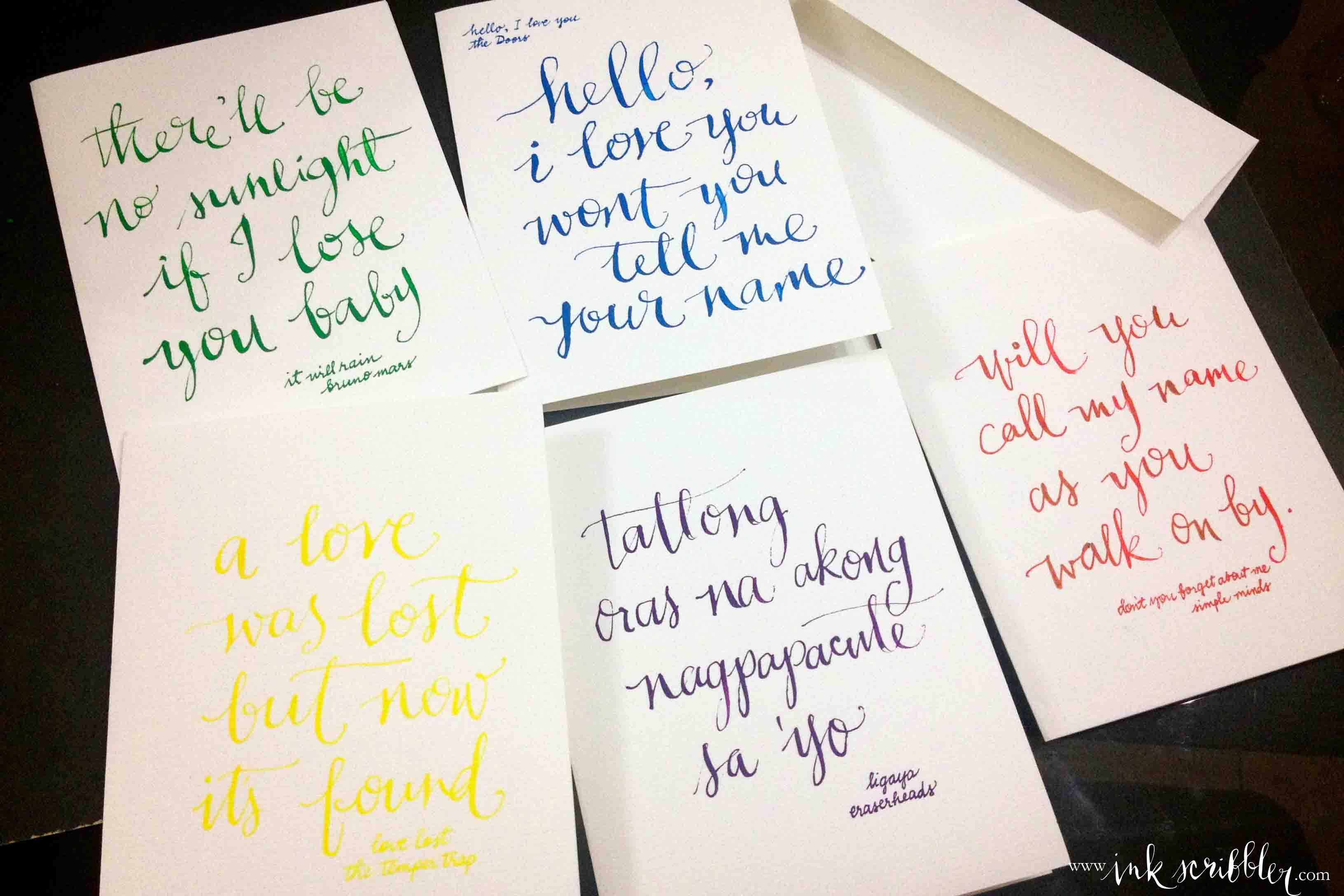 valentines cards inspired by songs wwwinkscribblercom calligraphy by alexis pinterest - What To Write On Valentines Card