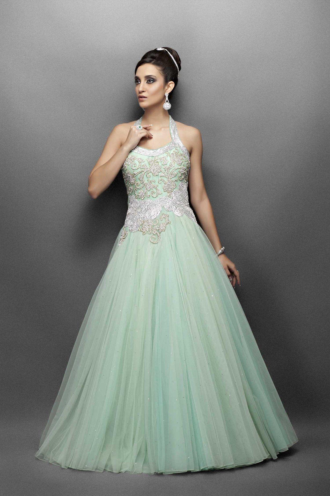Aqua green Indo Western bridal gown | Pinterest | Silver work ...
