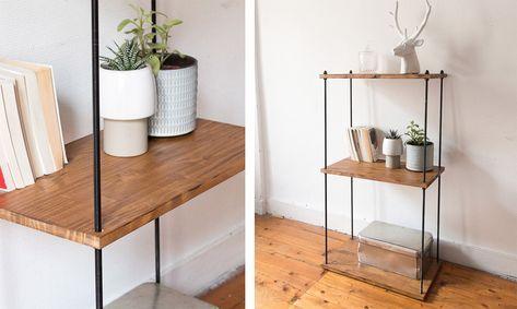 Aujourd'hui je vous propose un DIY étagère industrielle facile et sans soudure, grâce à des planches, une perceuse et des tiges métalliques !