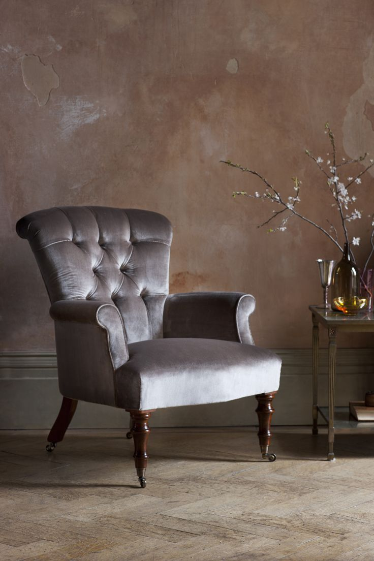 Victorian chair in Capri silk velvet - bokhara.  It looks great in a château or in a modern city pad.