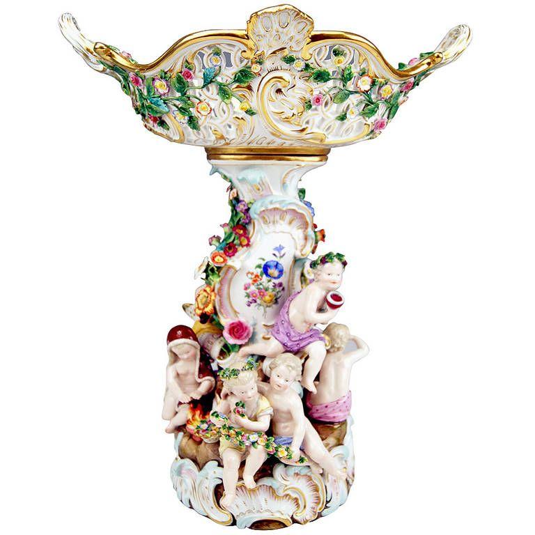 MEISSEN PORCELAIN Fruit Bowl /& Figurine CENTREPIECE Group C1860