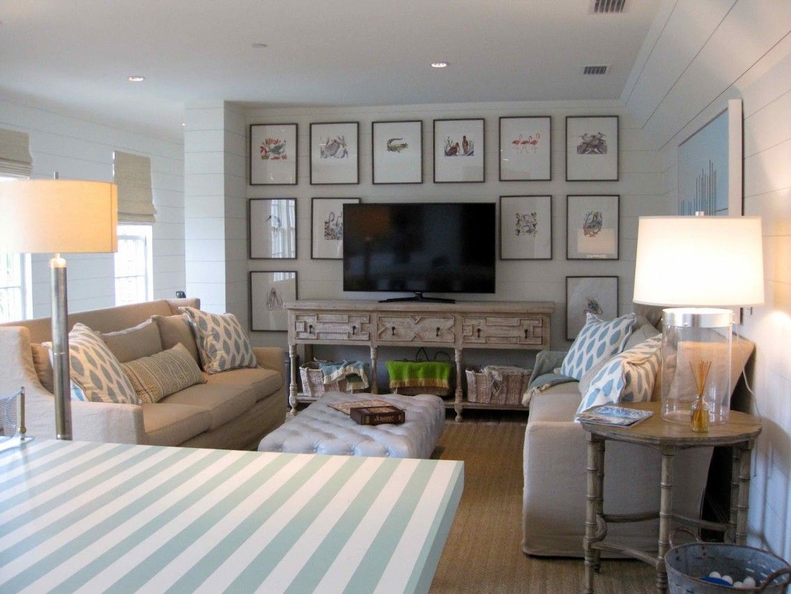 Surprising Coastal Style Bedroom Decorating Ideas Featuring Lcd Tv Consoles  Above Minimalist Wooden Table Under Storage