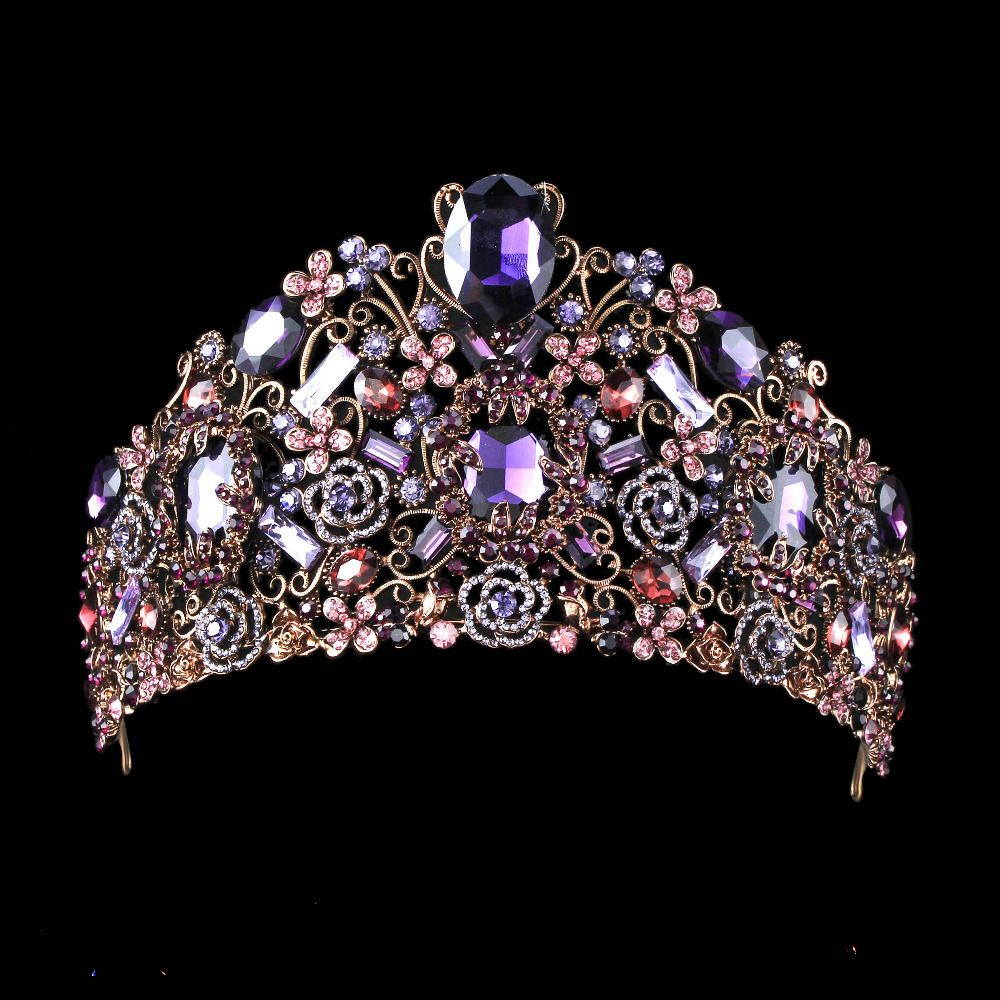 Luxury Tiara With Purple Crystals #eveninghair