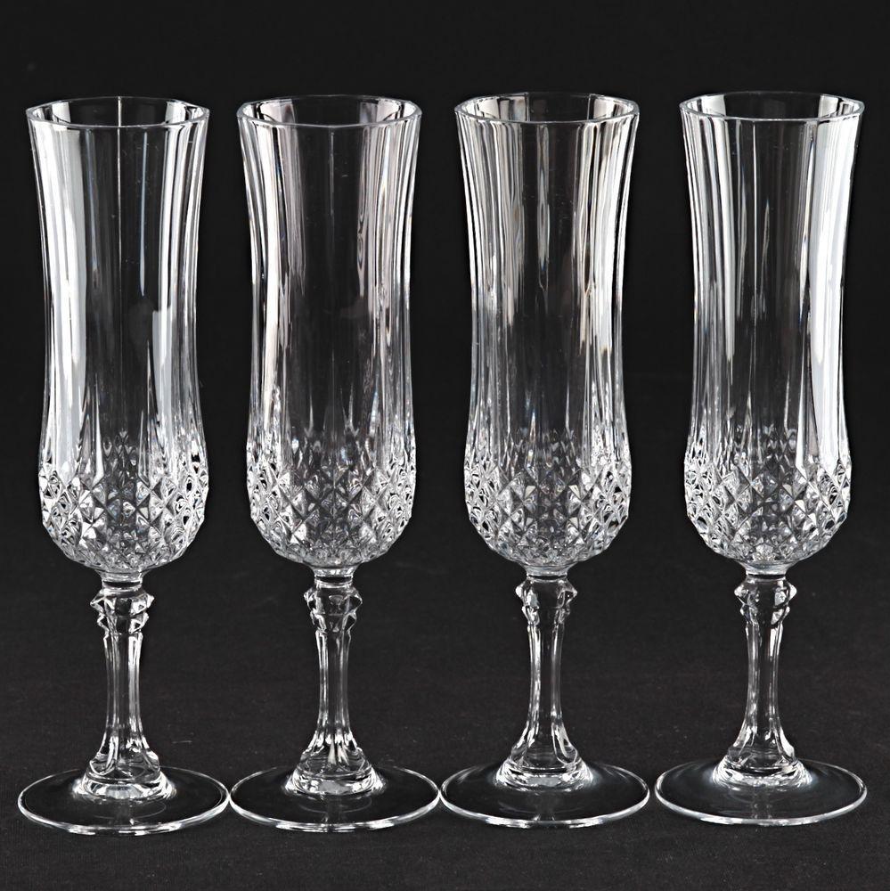 4 vintage sektgl ser cristal d arques longchamp kristall - Verres cristal d arques longchamp ...