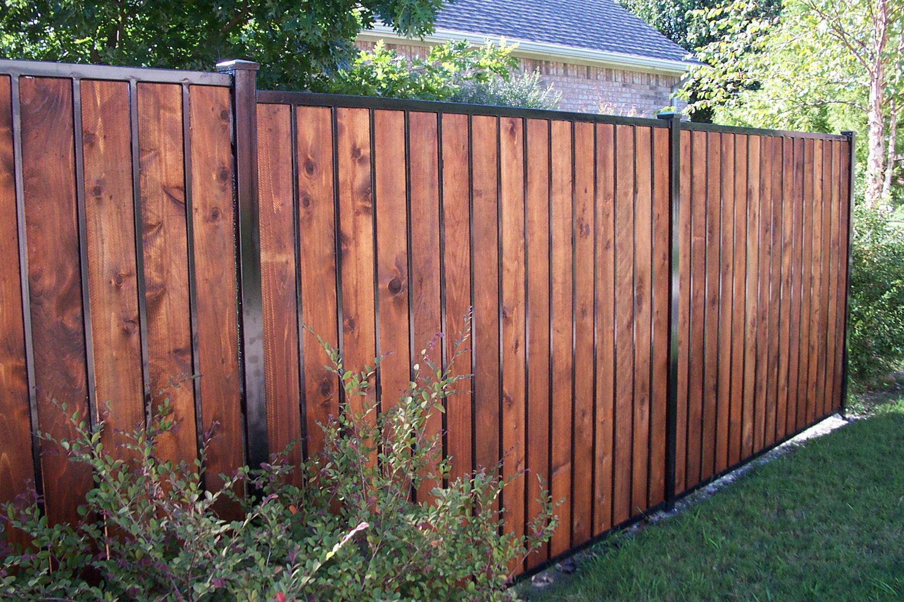 Iron And Wood Privacy Fence Google Search Fencing