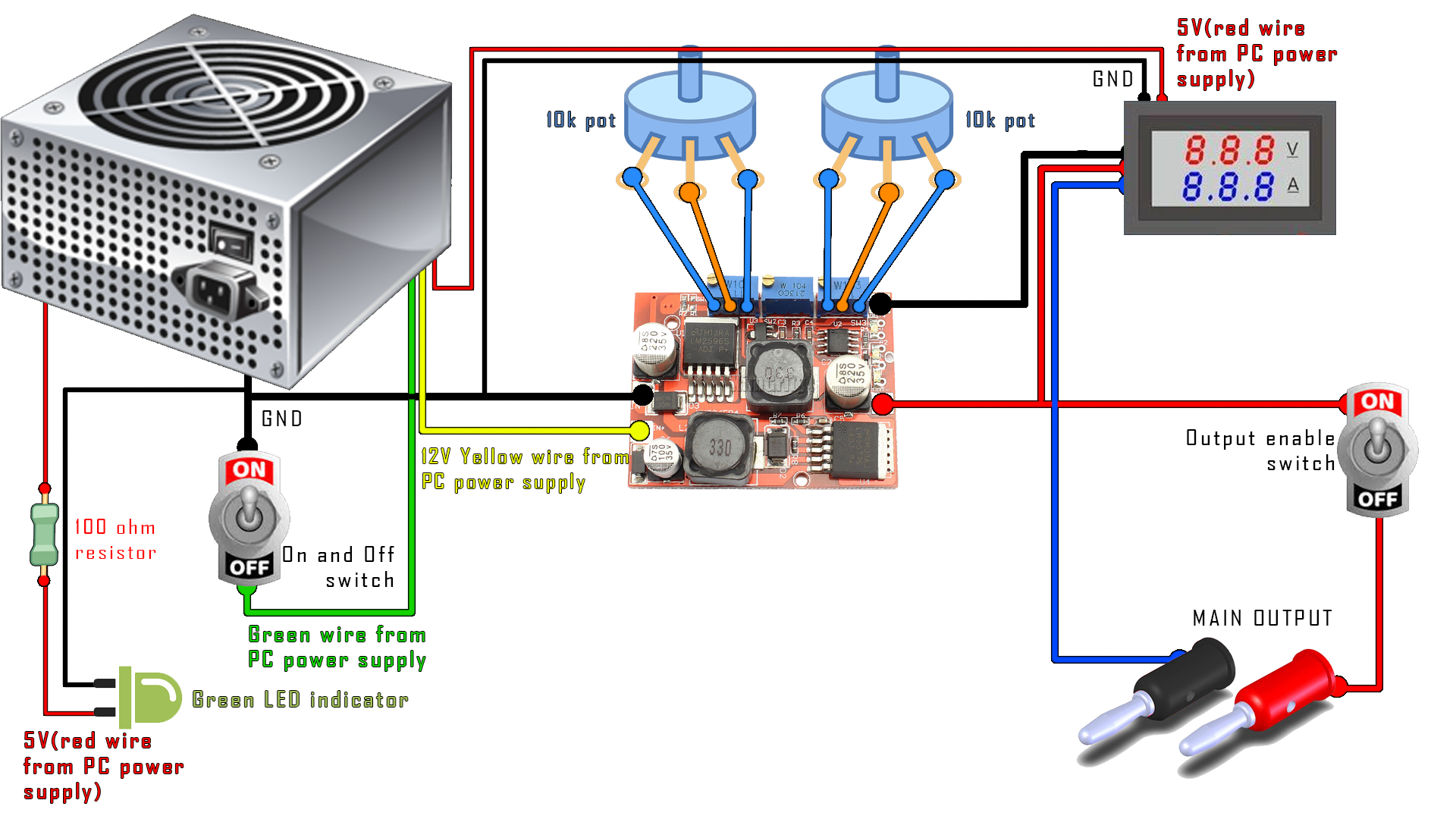 diy PC bench power supply schematic Diy pc, Diy