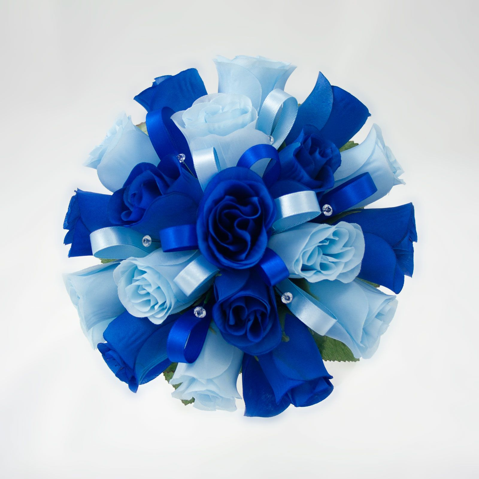 Royal blue flower arrangements for weddings google search royal blue and baby blue wedding bouquet royal blue and white with silver ribbon izmirmasajfo