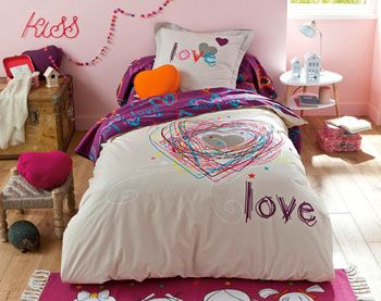 linge de lit ado jolis coeurs c lia chambre en 2019. Black Bedroom Furniture Sets. Home Design Ideas