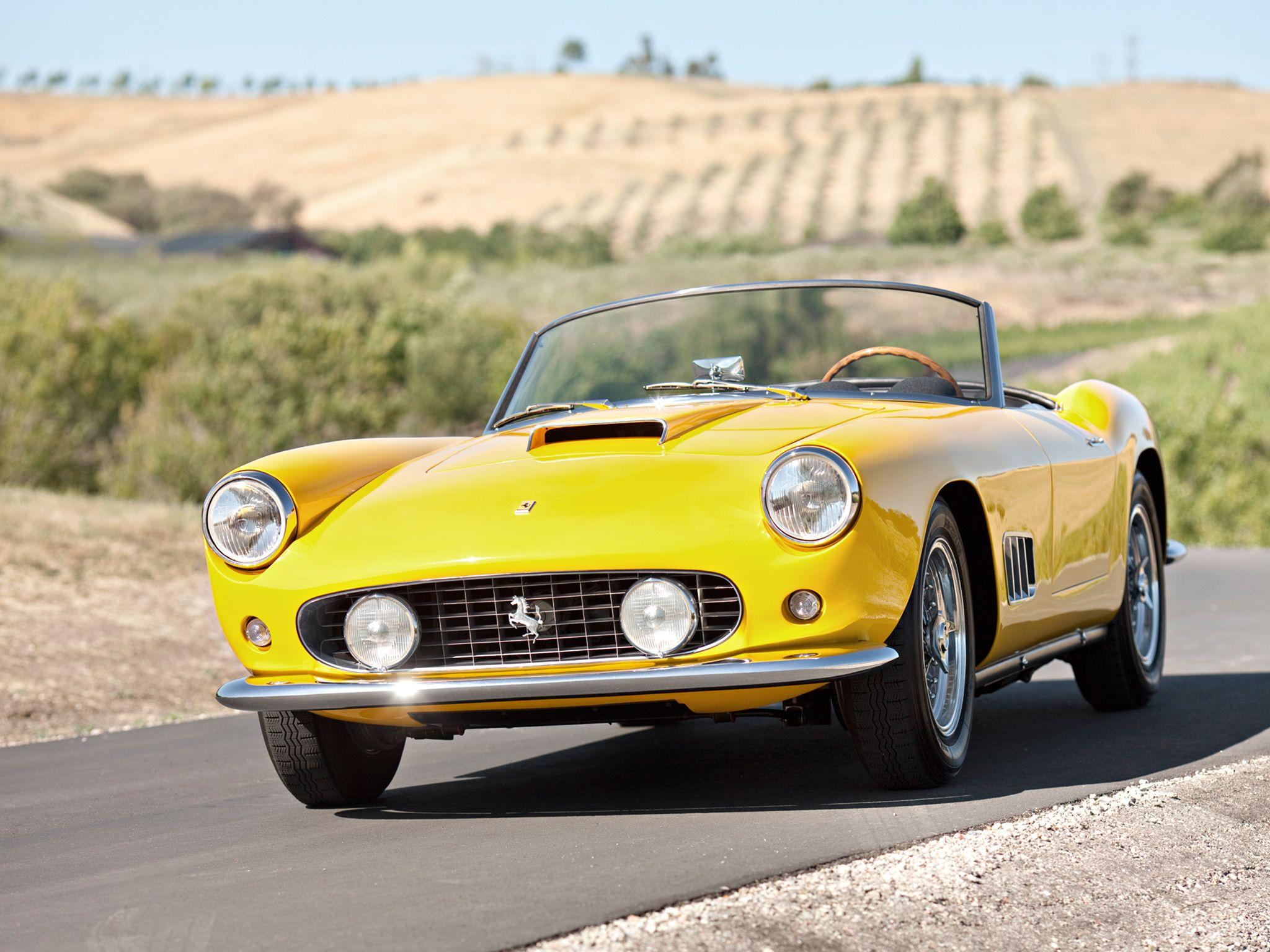 Cars colored yellow - Ferrari 250 Gt Swb California Spyder Open Headlights 1960 63 Fly Yellow The Perfect Color Carrozzeria Superleggera Della Dolce Vita Pinterest