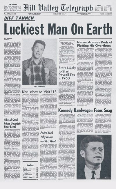 """Back to the Future part 2 - Biff Tannen's """"Luckiest Man on Earth"""" newspaper"""