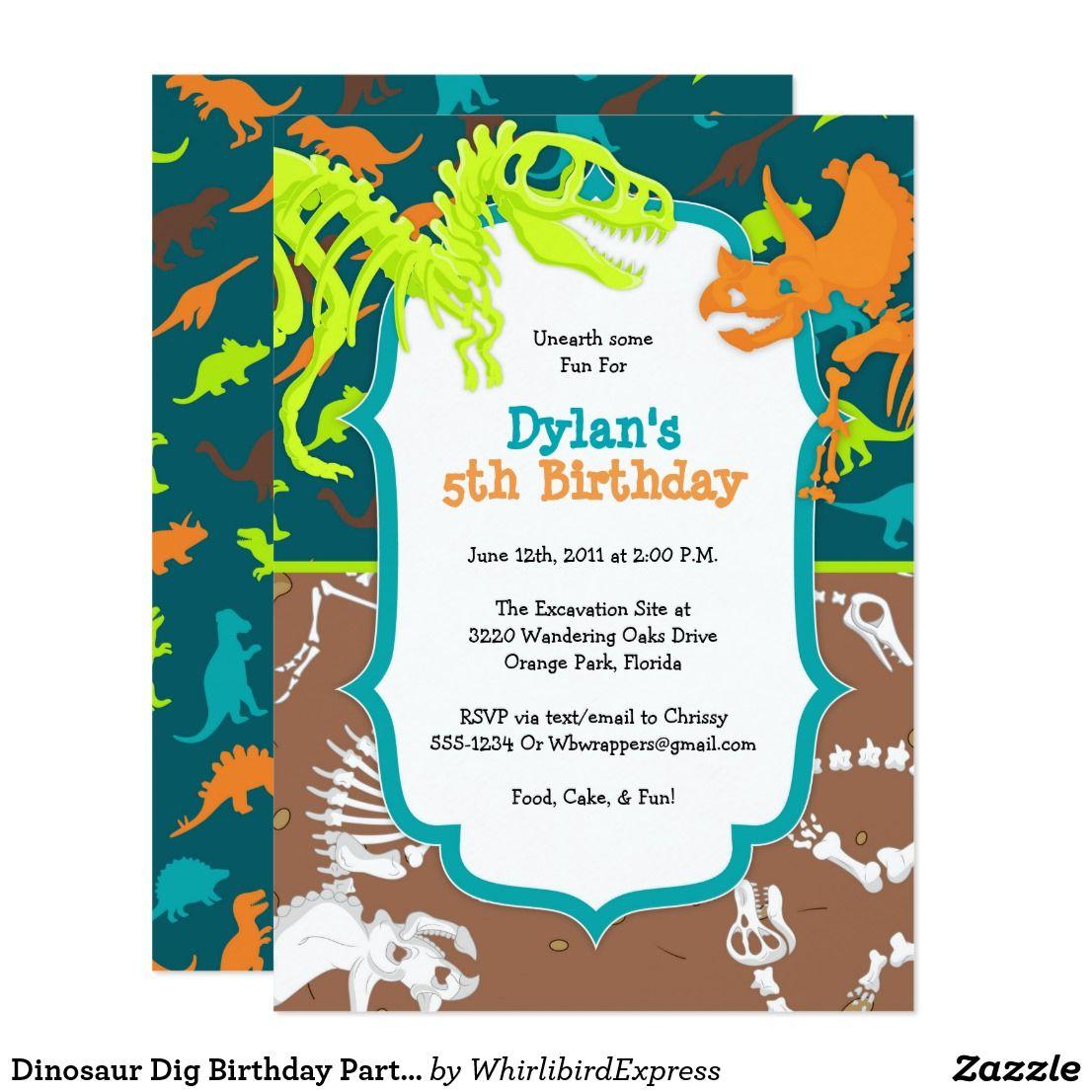 Dinosaur Dig Birthday Party Invitation | { Happy Birthday ...