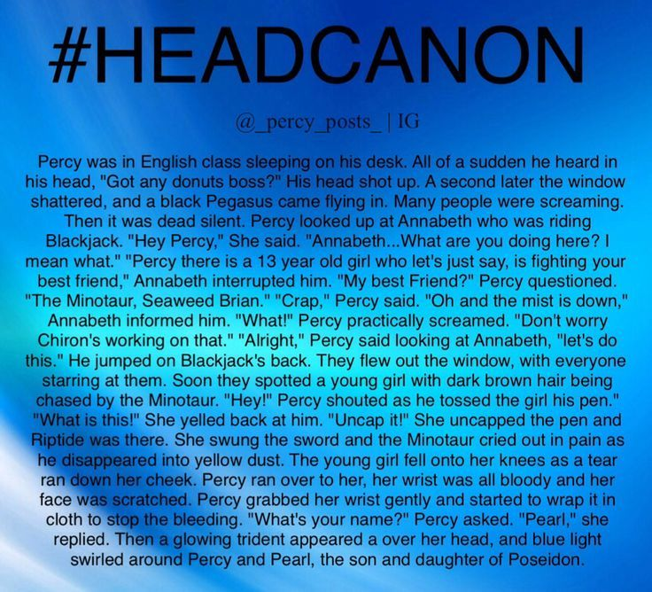 A Percy Jackson headcanon From @_percy_posts_ on Instagram!