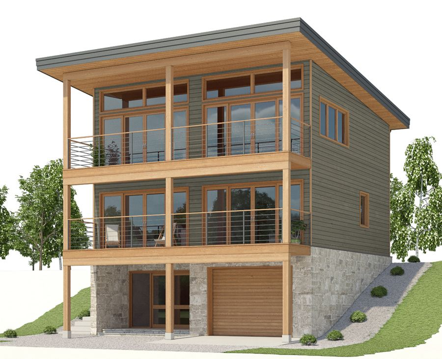 Sloping lot house plan, living area on the top floor ...