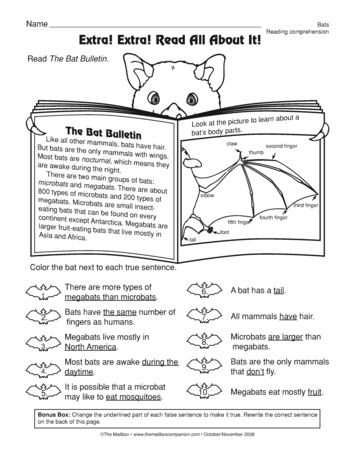 A comprehension worksheet with informational text, a bat diagram ...