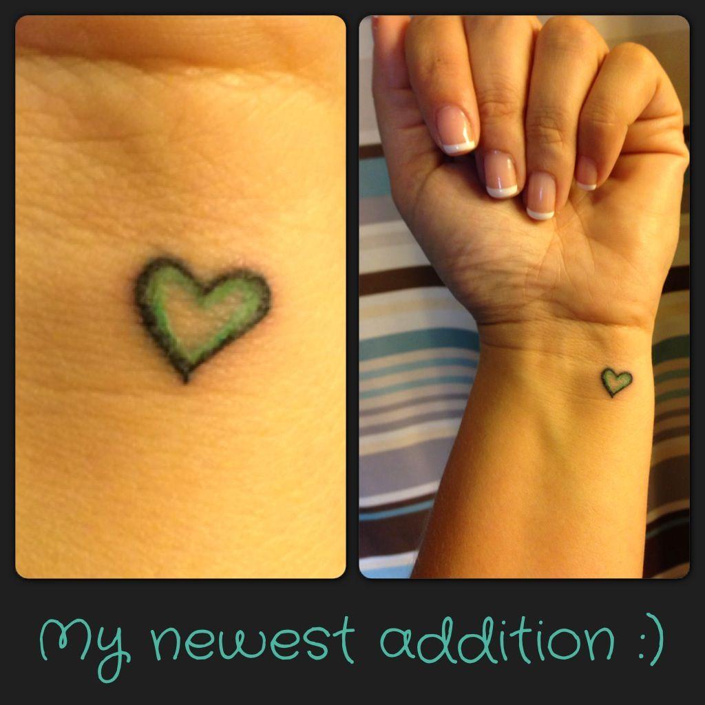 My Newest Tattoo. Small Heart On My Wrist With Tiffany