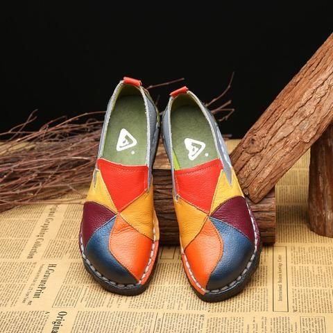 trendy women casual platformhandmade leather soft shoes