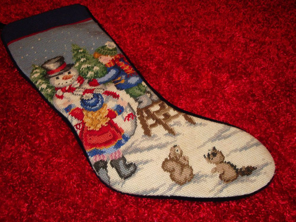 Lands End Christmas Stockings.Vintage Lands End Blank Needlepoint Christmas Stocking