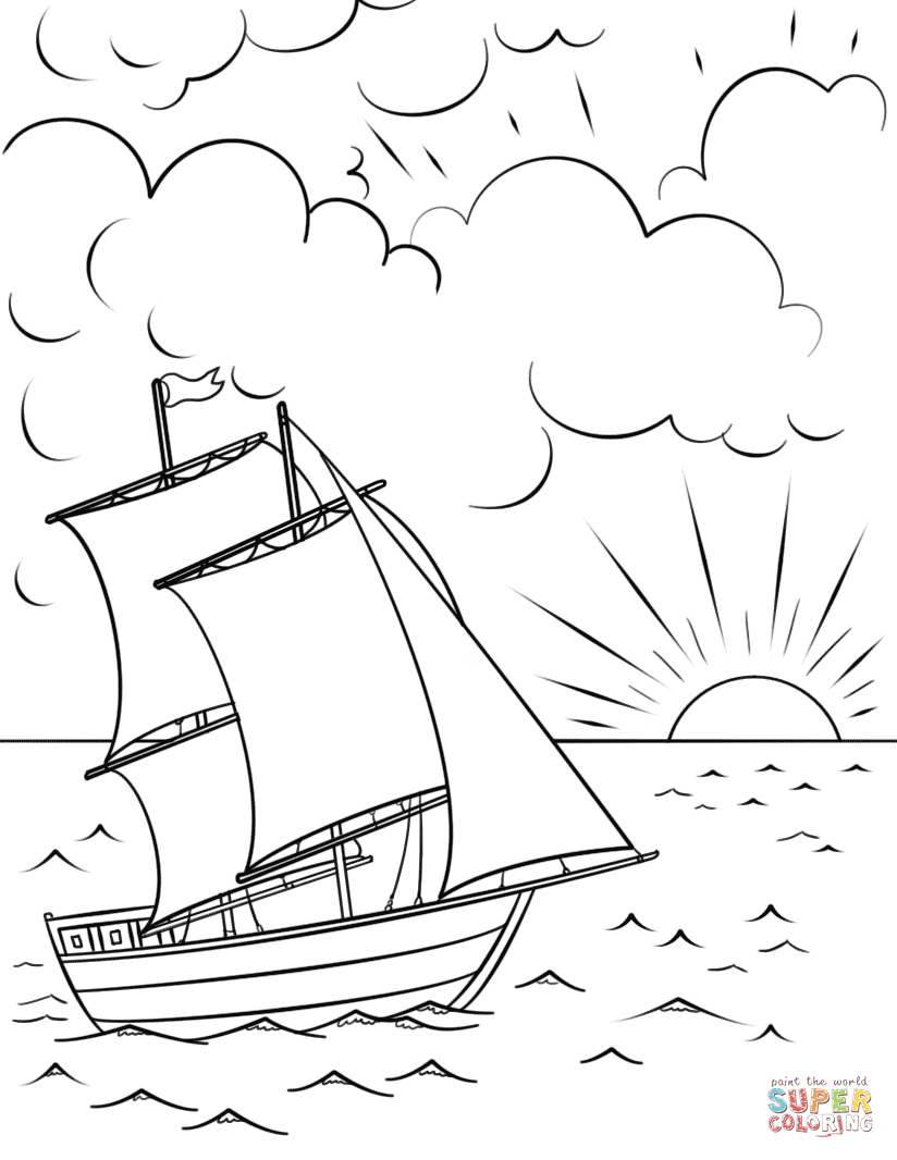 Sailing Ship Coloring Page Fairy Coloring Pages Art Drawings For Kids Coloring Pages