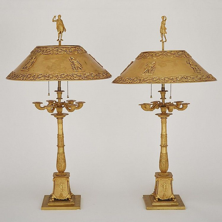 Sold Price Pair Of French Empire Gilt Bronze Bouillotte Table Lamps Early Mid 19th Century Height 33 25 Lamp Table Lamp French Empire
