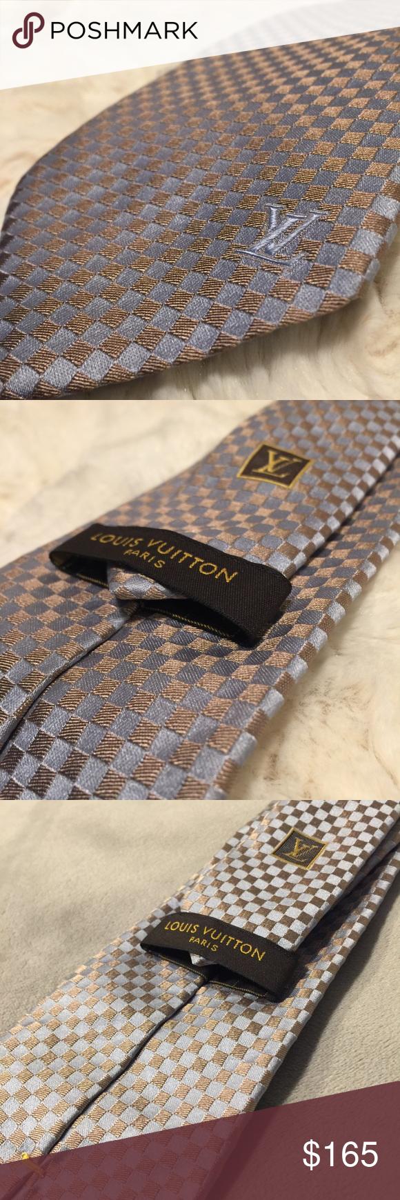 4597f6988344 LOUIS VUITTON Sml Damier Classiques Tie ✨Authentic SMALL DAMIER CLASSIQUE  TIE 👔 Blue Gold