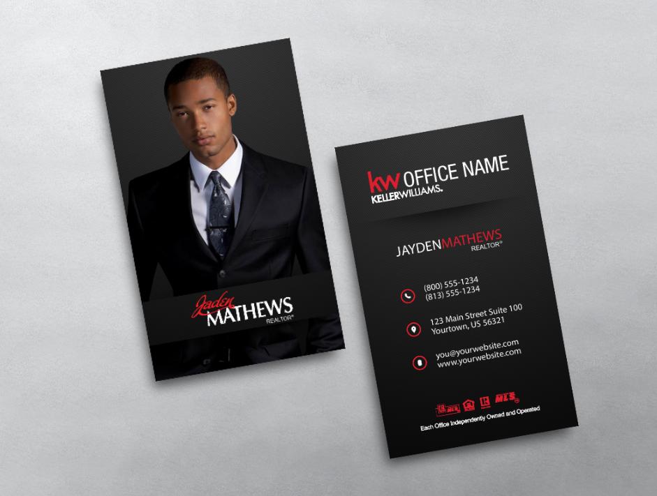 This Modern Vertical Keller Williams Business Card Template Features A Keller Williams Business Cards Real Estate Business Cards Vertical Business Card Design