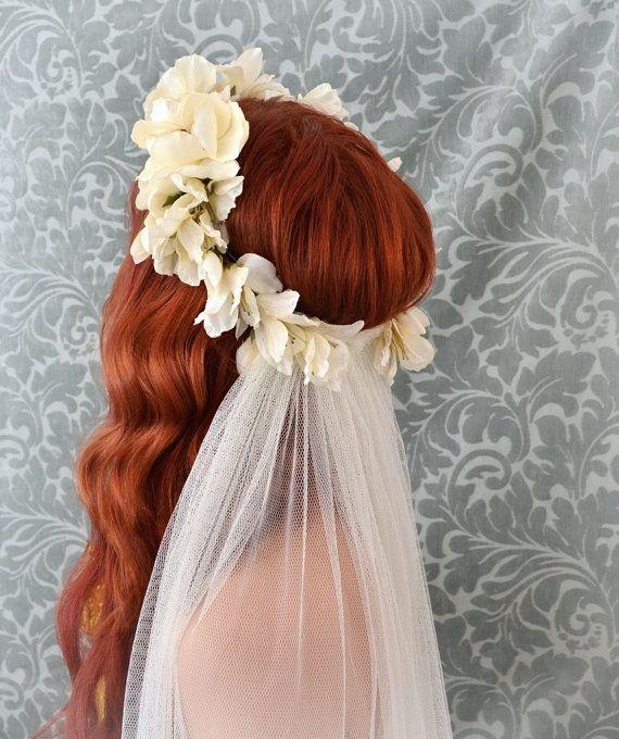 Bridal Hair Accessories Boho : Veil ivory flower crown boho wedding accessory woodland head