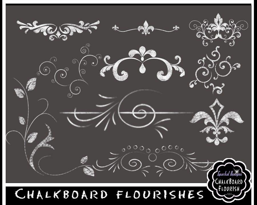 Chalkboard Flourishes Clip Art Wedding Banner Clipart Frames Rustic