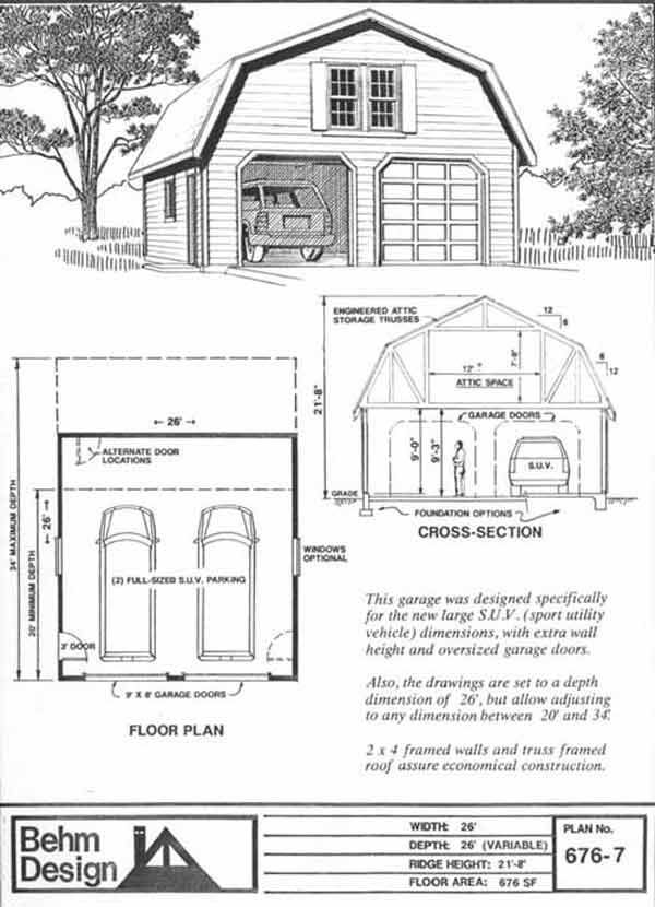 Oversized 2 Car Gambrel Roof Garage Plan 6767 26 x 26 By Behm – 26 X 26 Garage Plans