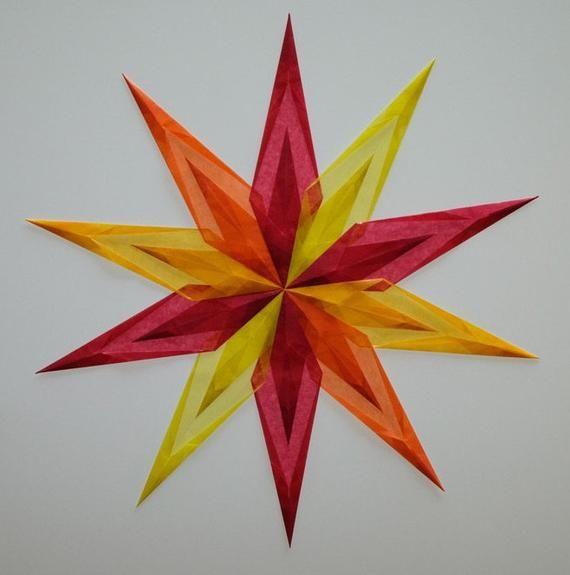 Transparent star 44 cm approx. made of transparent paper yellow, red, orange transparent stars folding stars