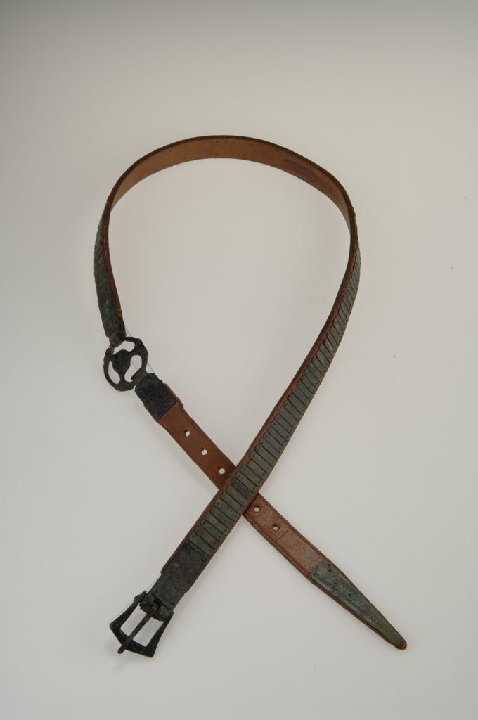 Viking belt made of bronze and leather. (The leather is reconstructed). Found in a free man´s grave at the island of Gotland, Sweden.