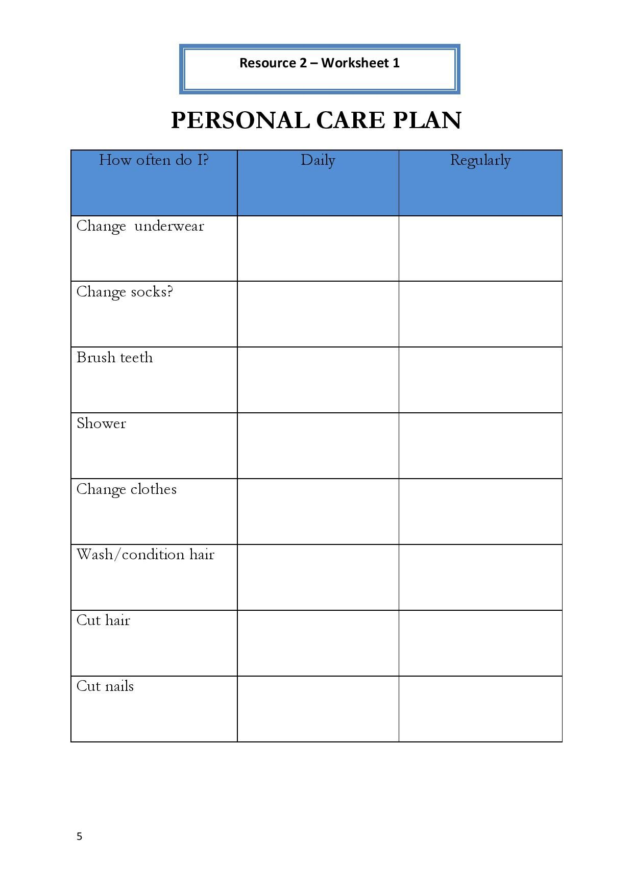 Plan And Worksheets Personal Care