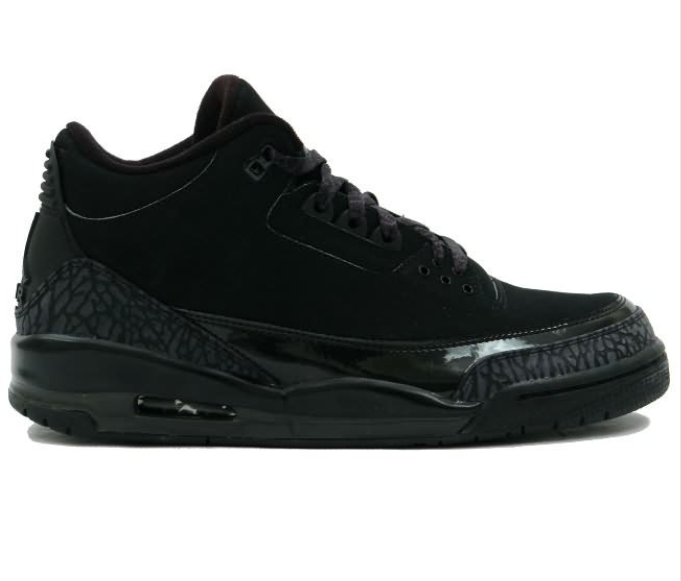 Air Jordan 3 (III) Shock-absorbing Nike Retro Black Cat Shoes Mens