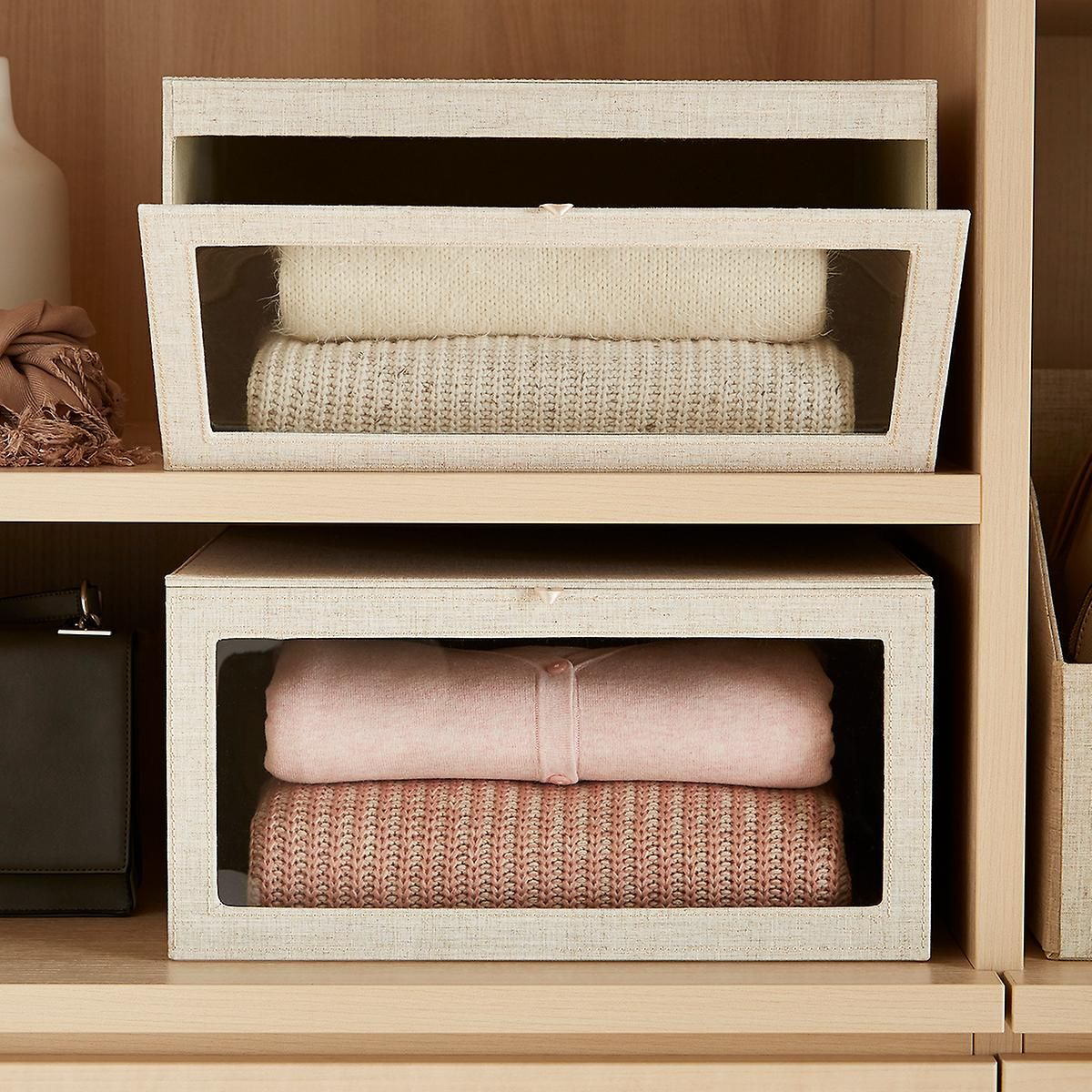 Linen Cambridge Drop Front Sweater Box Sweater Box Container Store Storage Boxes