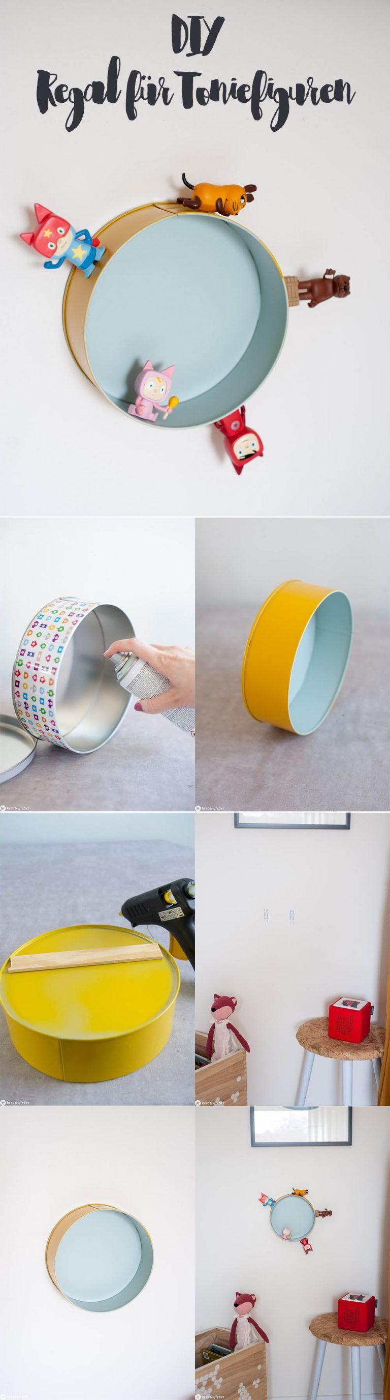 DIY Regal für Toniefiguren aus einer Keksdose upcyclen
