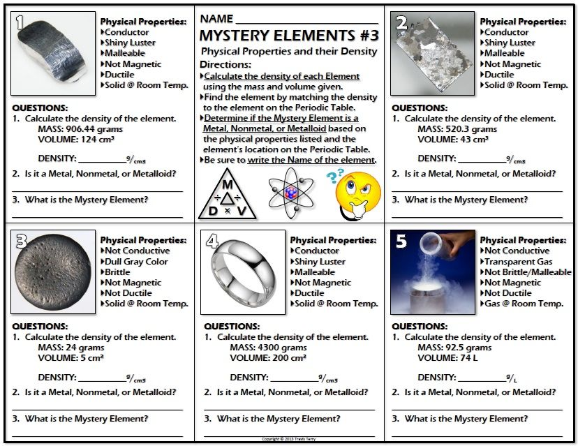 Worksheet Mystery Elements and Their Density Version 3 Periodic - best of periodic table of elements and their uses pdf