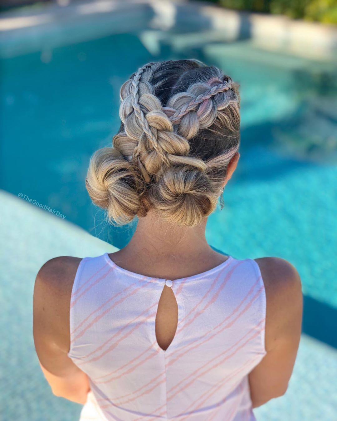 Criss Cross Stacked Braids Into Space Buns Braided Hairstyles French Braid Hairstyles Hair Styles