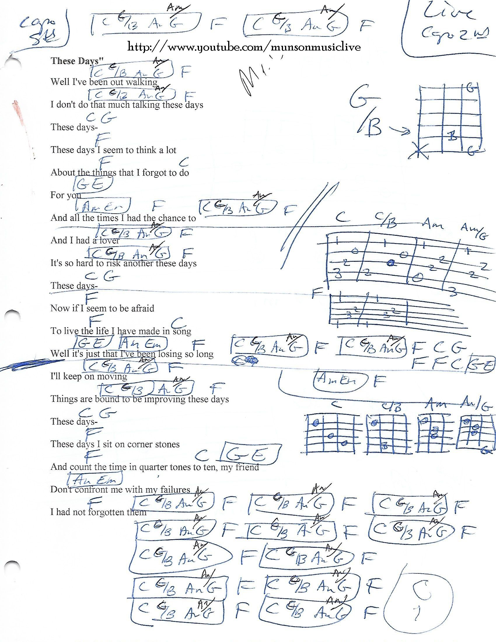 These Days Guitar Chord Chart Guitar Lesson Chord Charts Htttp