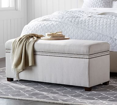 Tamsen Upholstered Storage Bench Performance Everydayvelvet Tm Smoke Furniture Ottomans Benches Pottery Barn Bench With Storage End Of Bed Seating Upholstered Storage Bench
