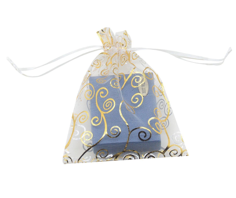 SUNGULF 100pcs Organza Pouch Bag Drawstring 4x6\' 10x15cm Strong Gift ...