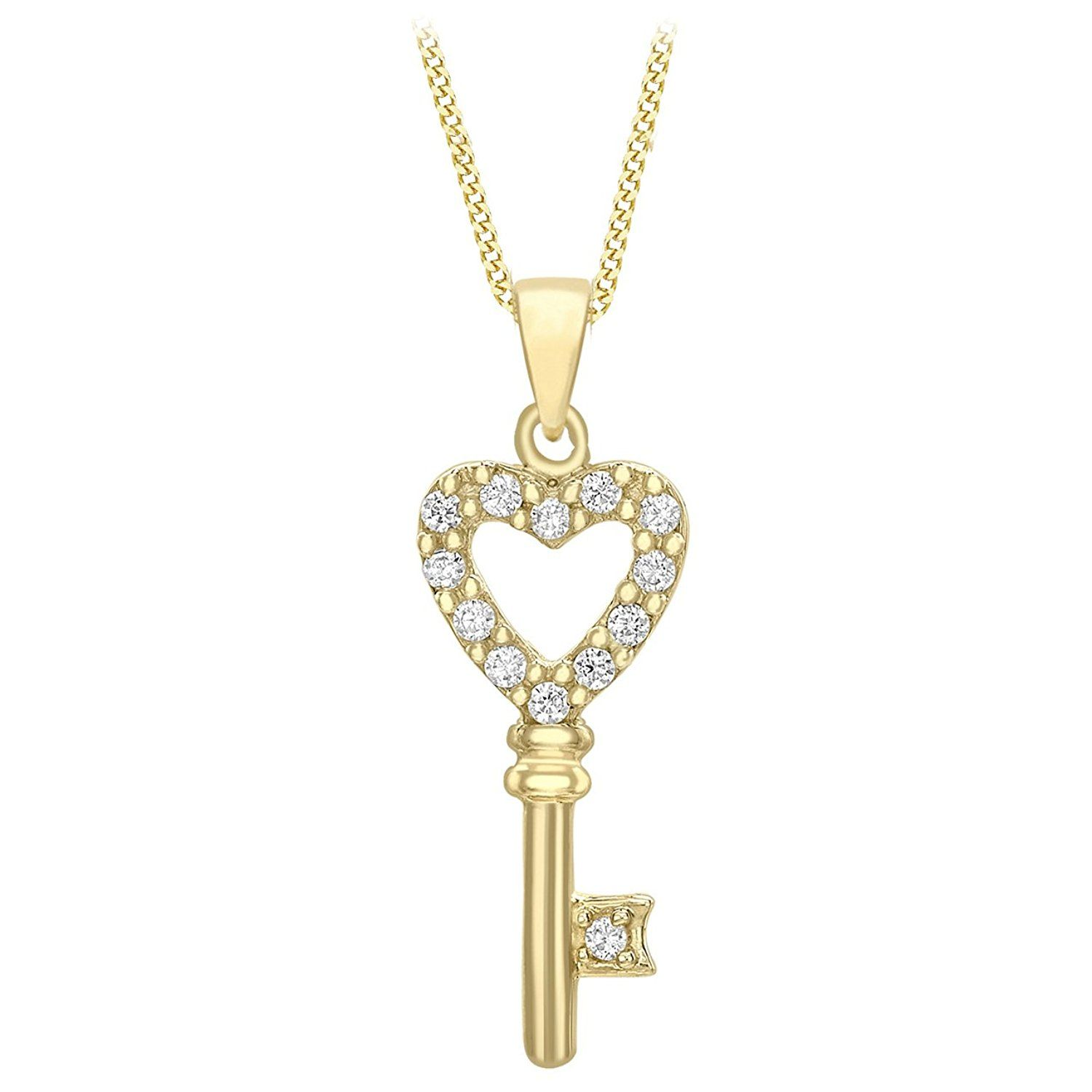 Carissima Gold 9 ct Yellow Gold 9 Cubic Zirconia Bar Drop Pendant on Curb Chain Necklace uHInc