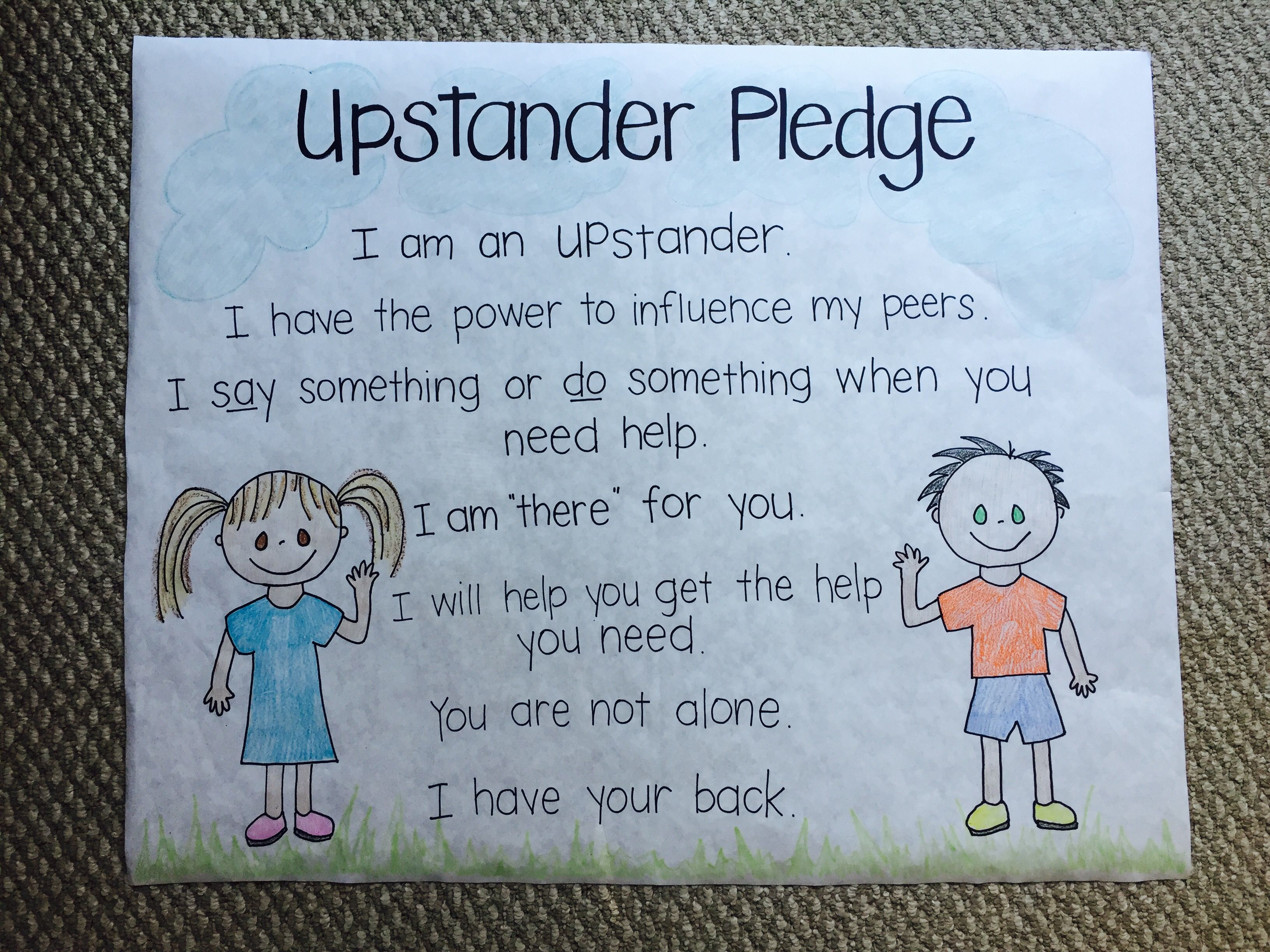 Upstander Pledge Created At Lietz Elementary For Use With