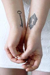 Key  lock temporary tattoo  key temporary tattoo  Valentines Day temporary tattoo  Valentines Day gift idea  couple temporary tattoo