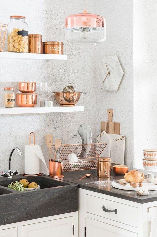 Inspiring Copper Rose Gold Kitchen Themes Decorations34 Kitchen Decor Apartment Home Decor Kitchen Kitchen Decor Themes