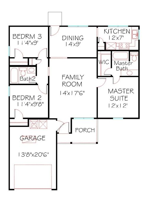 Plan 1098101 – 3 Bedroom 2 Bath 2 Car Garage Floor Plans