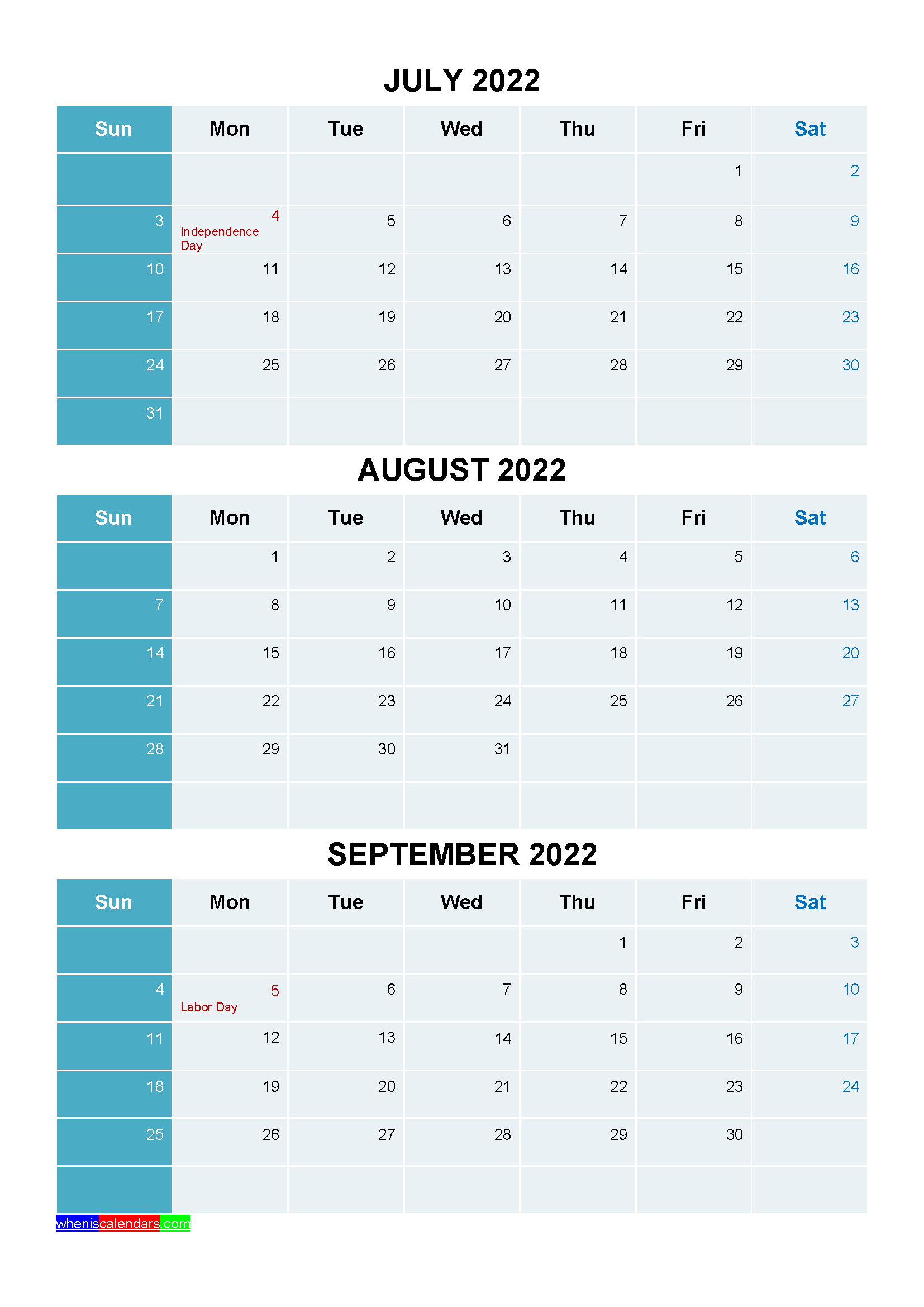 July August September 2022 Calendar With Holidays Printable Four Quarters In 2020 Holiday Printables Printables January February March